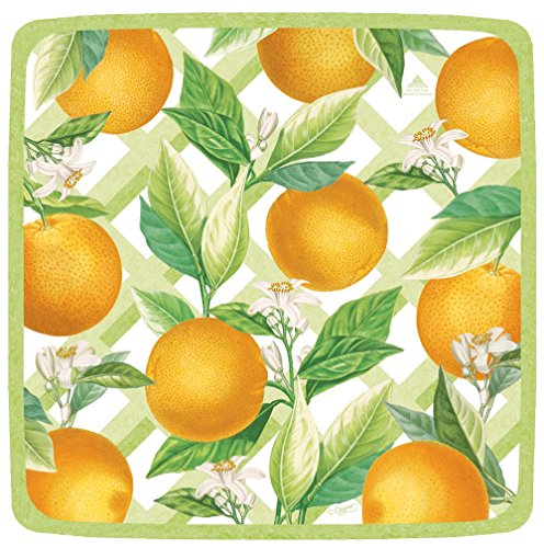 Entertaining with Caspari Orangerie Square Salad/Dessert Plates, Orange, 8-Pack