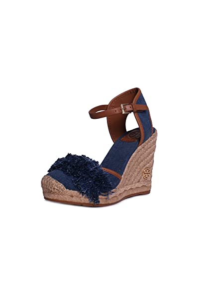 9c6628b4b Amazon.com | Tory Burch Shaw 90mm Espadrille Wedge Sandals - Size 8 Blue  Denim/Royal Tan | Flats