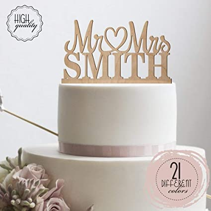 Amazon.com: Mr Heart Mrs Wedding Cake Topper Personalized Mr Mrs ...