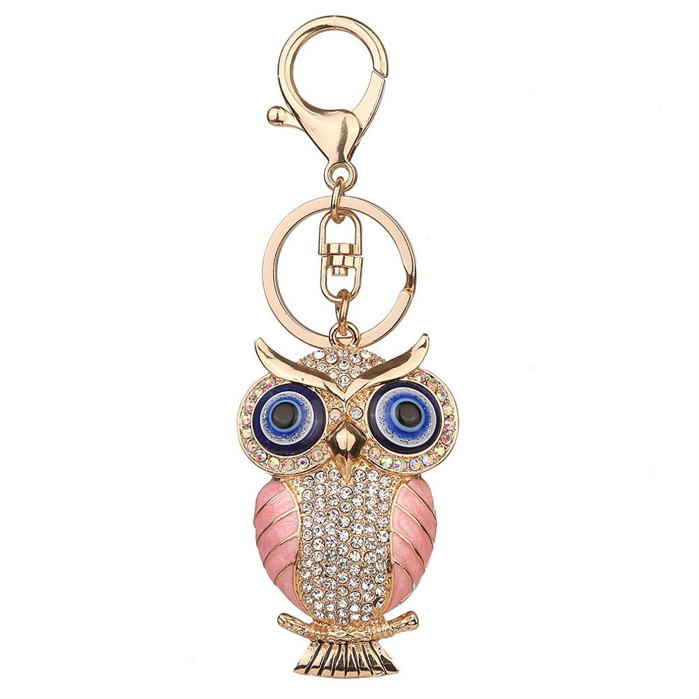 Cute Rhinestones Owl Keychain Crystal Animal Keyring for Purse Handbag Pendant