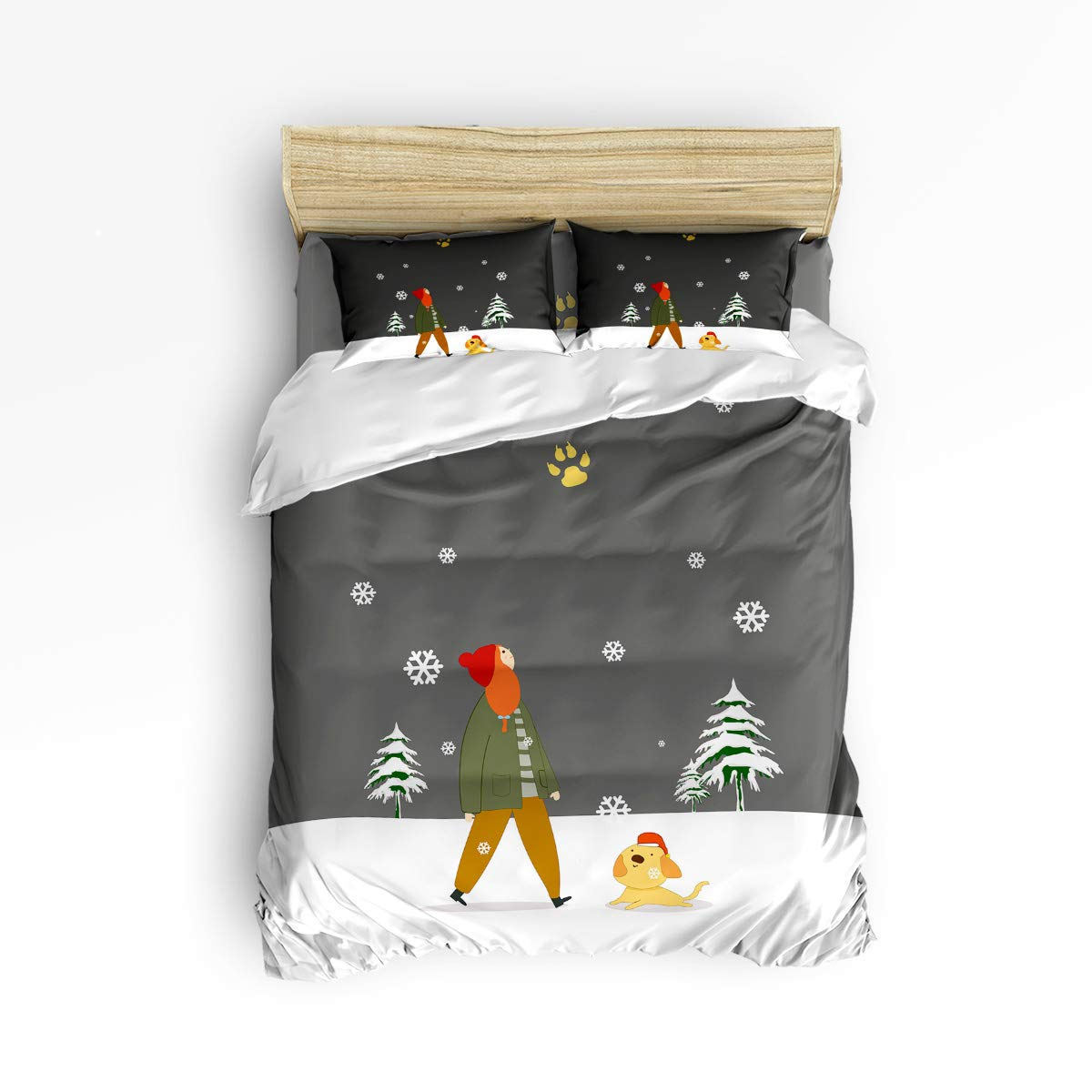 Anzona 4ピース寝具セット クリスマスガール 子犬遊び クリスマスツリー 雪の結晶 グレー 背景 画像 4ピース 羽毛布団カバーセット ベッドスプレッド 子供/子供/ティーン/大人用 Twin Size 181115MCsjtZLYanzo-SWTQ00866SJTAAZN B07KMT2BP8 Snowdogazn5511 Twin Size