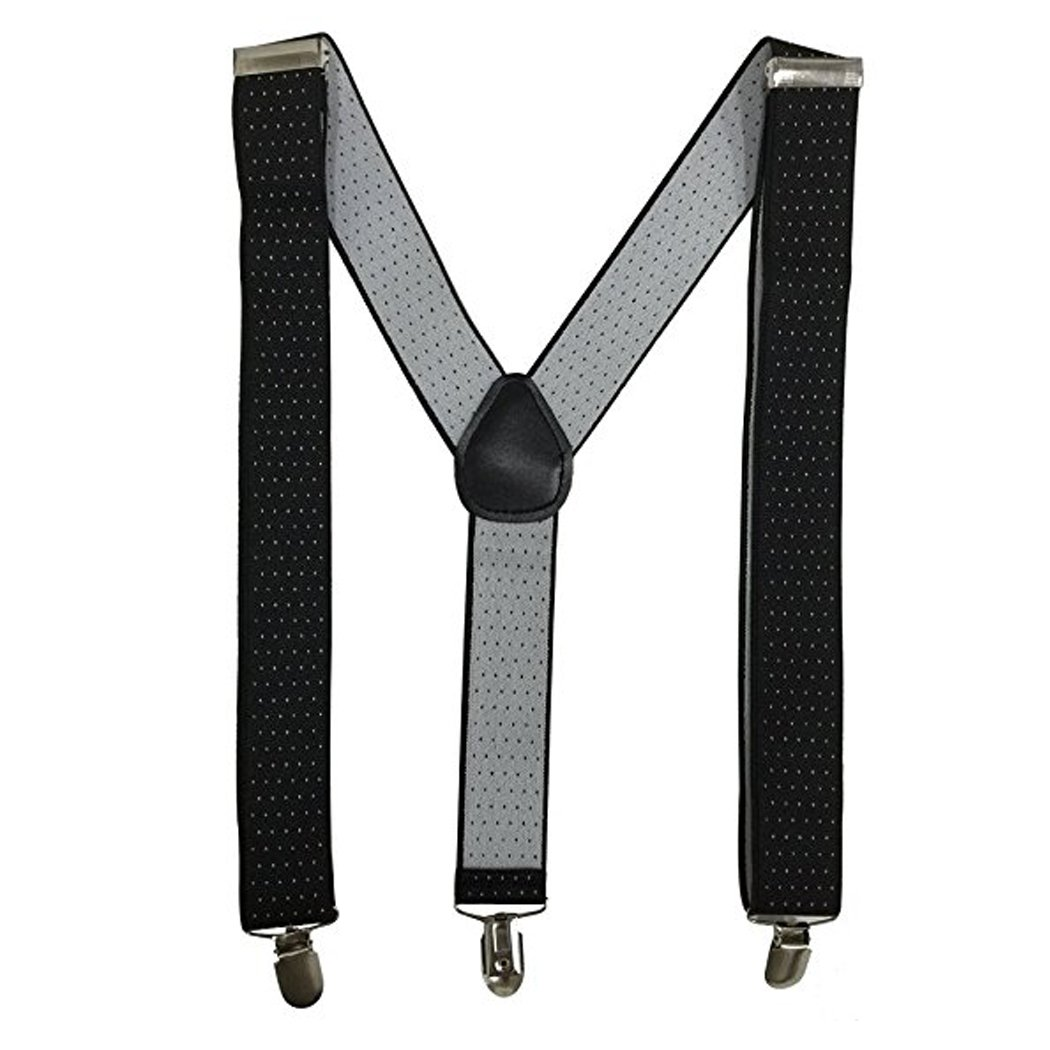 Kllniss Men's Clip Suspender Y-Back Adjustable Elastic Shoulder Strap 1.4'' Wide (One Size, Black) by Kllniss (Image #3)