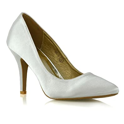 710e3b62ba99 Womens Stiletto Pointed Toe Shoes Ladies Mid High Heel Satin Bridal Party  Pumps Size 3-
