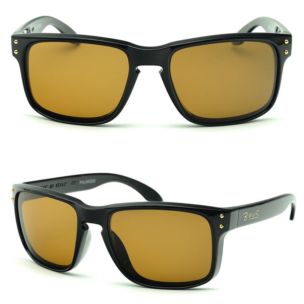 BNUS Italy made Corning Real Glass LensSunglasses For Men Women Cycling Glasses Polarized Baseball Running Fishing Driving Golf (Frame: Black, Polarized Brown B15) by B.N.U.S