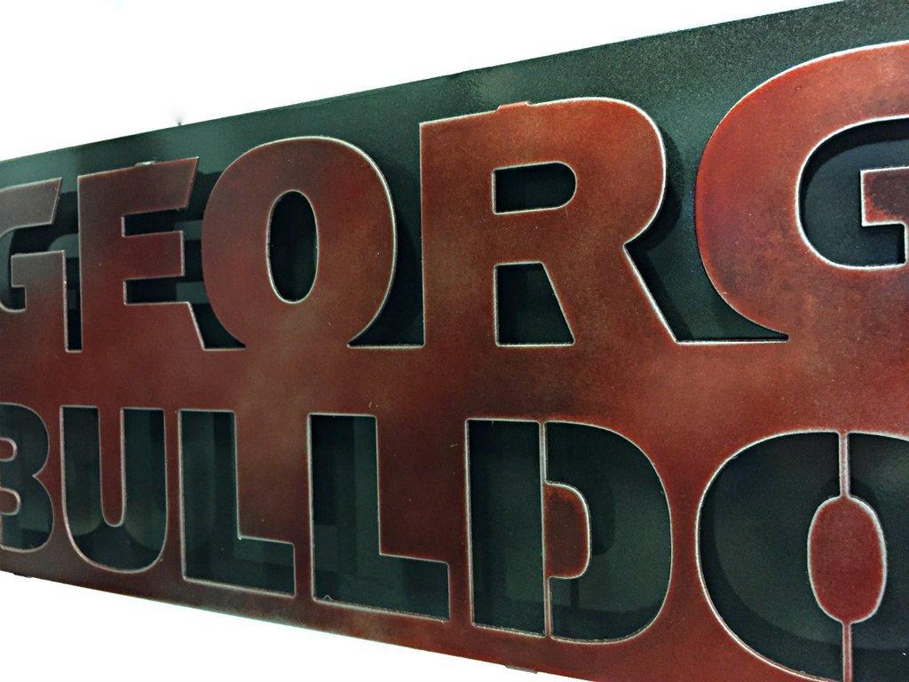 Gear New University of Georgia Bulldogs 3D Vintage Metal College Man Cave Art, Large, Grey/Red