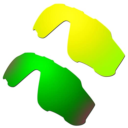 fa565a4f34 Hkuco Mens Replacement Lenses For Oakley Jawbreaker 24K Gold Emerald Green  Sunglasses