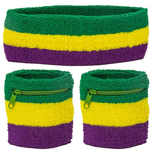 Funny Guy Mugs Mardi Gras Unisex Sweatband Set (3-Pack: 2 Wristbands with Zipper/Wrist Wallet + 1 Headband)