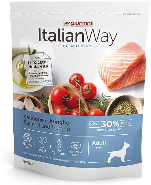 Italian Way Alimento para Perros hipoalergénico de salmón y arenques – Adult – Mini – 1,5 kg