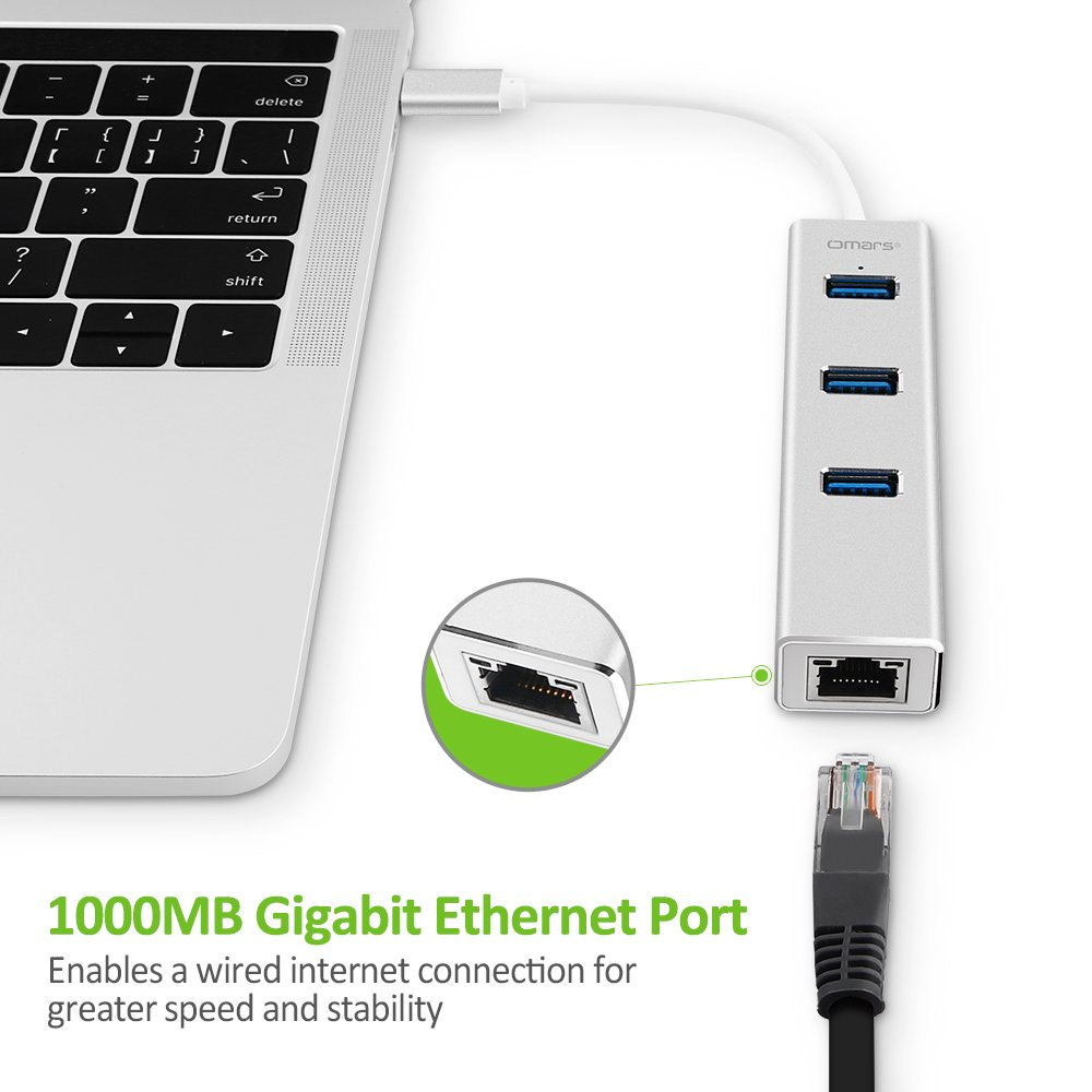 Omars USB C Hub Alluminio con porta Ethernet Gigabit (1000 Mbps) + 3* USB 3.0, 5Gbps Adattatore USB C per nuovo Macbook, Macbook Pro 2016, Google ChromeBook Pixel 2015 Altri Type C PC e compresse