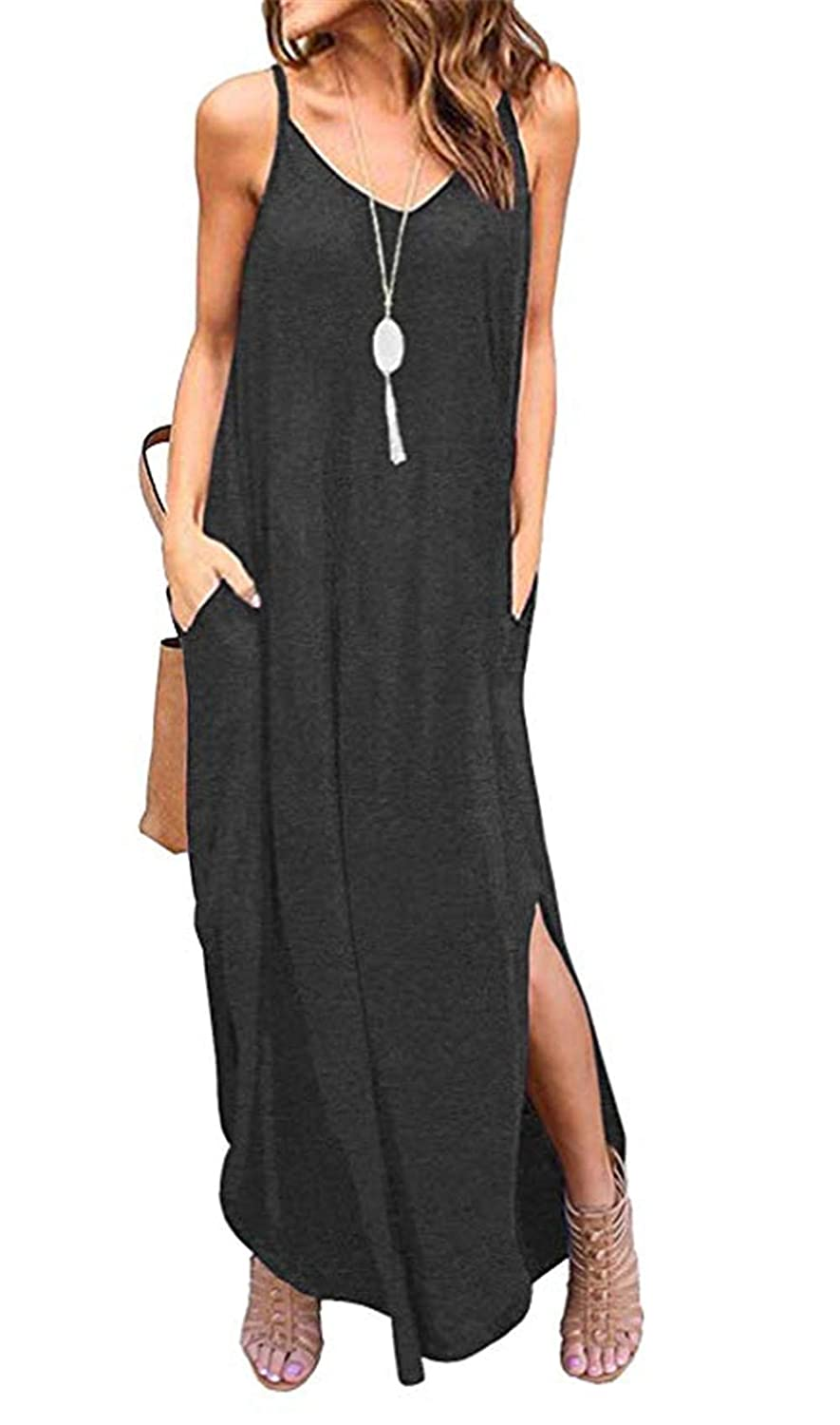 Dark Grey LAMISSCHE Womens Summer Casual Loose Dress Beach Cover Up Long Cami Maxi Dresses with Pocket