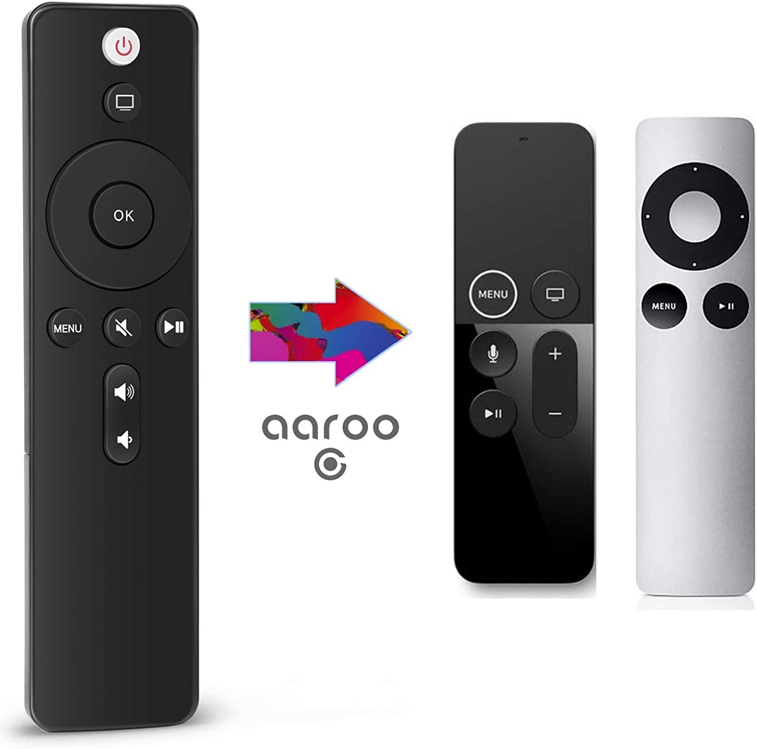 aarooGo TV Button Remote for APL TV 4K Player A1294 A1218/MA711 A1378/MC572 A1427/MD199 A1625/MGY52/MLNC2 A1842/MQD22/MP7P2 with Power Volume Control