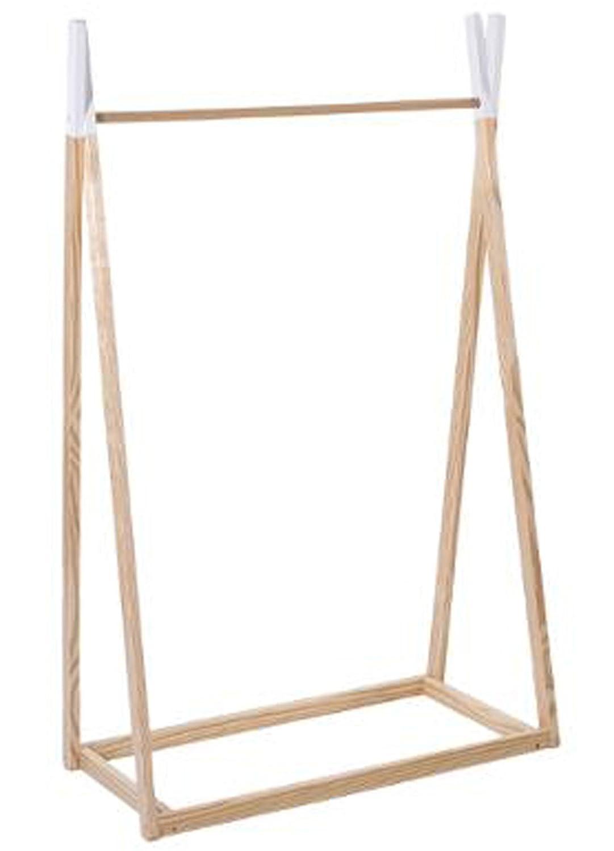 PEGANE Penderie Enfant scandinave Blanc et Naturel - Dim : L 78 x l 126 x H 38 cm