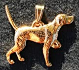 English Pointer Dog 24k Gold Plated Pewter Pendant