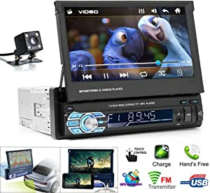 MASO Single Din Car Stereo MP5 Player 7 inch Retractable Touch Screen and Rear View Camera Support 1080P USB Port Bluetooth AUX FM/AM Radio