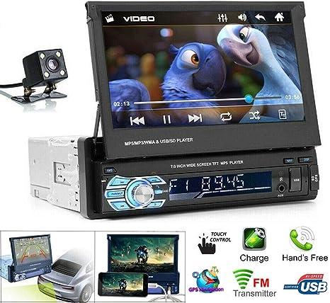 Supporto per connessione Android Auto 1 DIN Stereo RDS AM FM Radio Bluetooth Car Funzione di Controllo del Volante Retrattile Touchscreen da 71080P HD Joopark Autoradio Lettore MP5