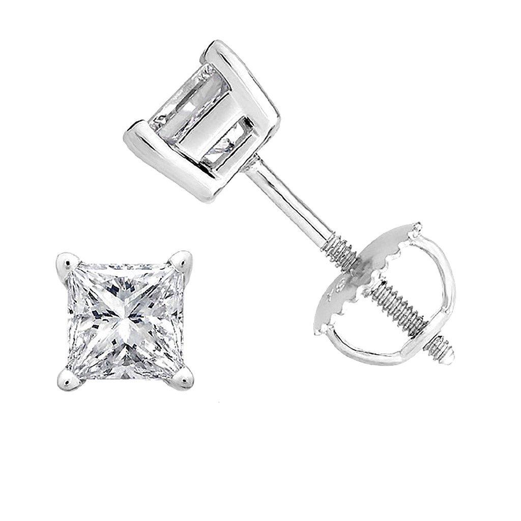 PARIKHS Princess cut Diamond stud Promo Quality Screw Back 14K White Gold (0.15ct, Clarity-I3)