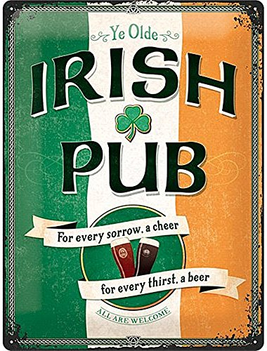 Irish Pub Sign - Nostalgic Art 23226 Open Bar Irish Pub, Metal Tin Sign Multi-Coloured 30 cm x 40 cm (na)
