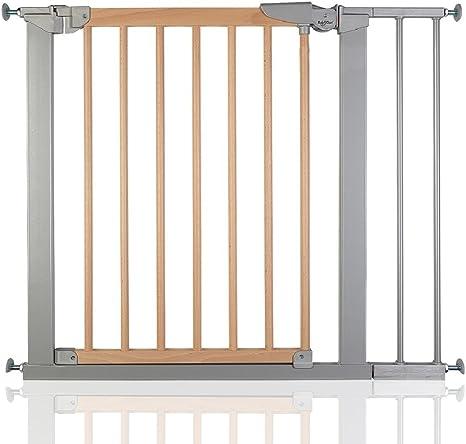 BabyDan Avantgarde - Bebé Puerta de la Escalera Barrera de Seguridad Haya Plata, 83,7-91,1cm: Amazon.es: Bebé
