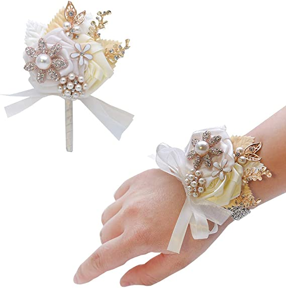 Fabric Flower Pin Wedding Sash Pin Champagne and Blush Corsage Pin Grandmother Mother/'s Corsage Waist Pin Pink Fabric Corsage