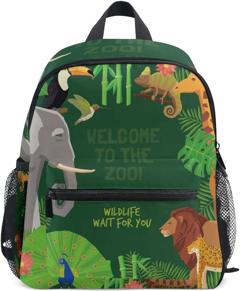 FANTAZIO Backpacks Animals Panda Peacock Tiger Elepant Parrot School Bag Canvas Daypack with Zipper