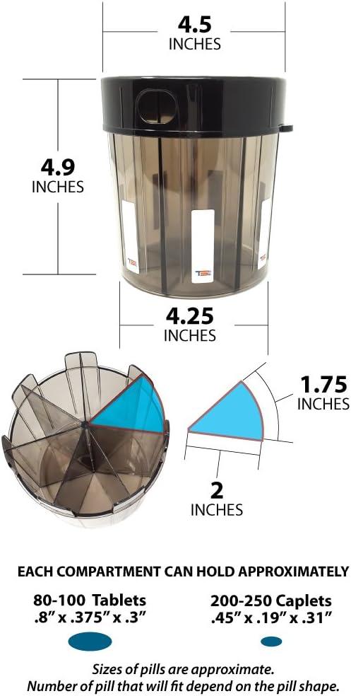 medicaci/ón p/íldora dispensador con etiquetas compartimiento TS FIT suplemento monstruo extra grande manijas recipiente de p/íldoras casi cualquier suplemento