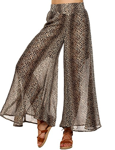 Zeagoo Womens Comfy Chic Palazzo Lounge Pant,Leopard Printed,Large (Leopard Lounge Pants)