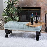 Cheap GDF Studio Sudan Sea Foam Tufted Crush Velvet Ottoman