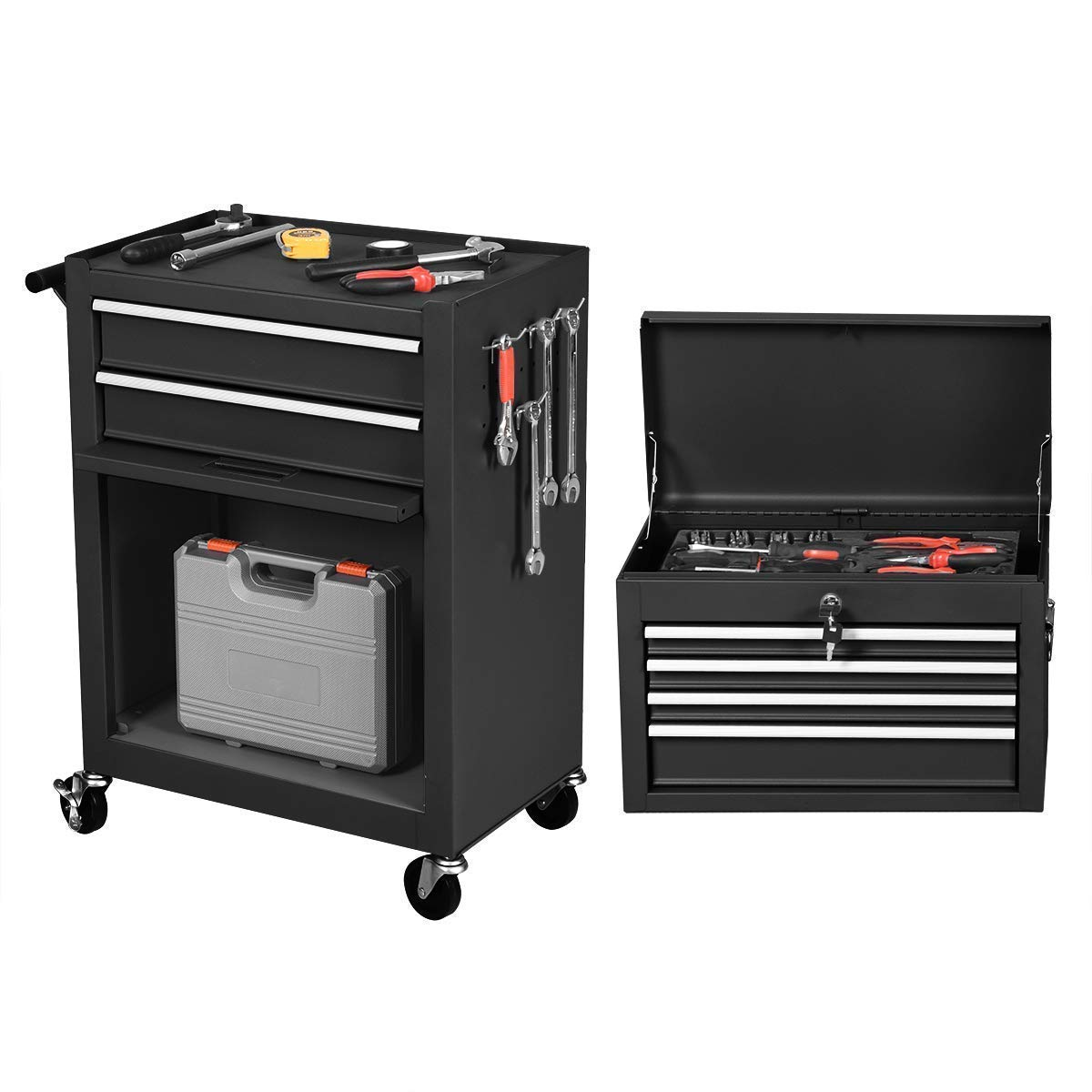 Goplus 6-Drawer Rolling Tool Chest Removable Tool Storage Cabinet with Sliding Drawers, Keyed Locking System Toolbox Organizer (Black) by Goplus (Image #5)