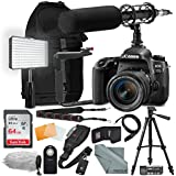 Canon EOS Rebel 77D DSLR Camera with EF-S 18-55mm f/4-5.6 IS Lens Complete Premium Video Kit w/64GB + Professional Shotgun Microphone + Pro Video 160 LED Light + Deluxe Accessory Bundle