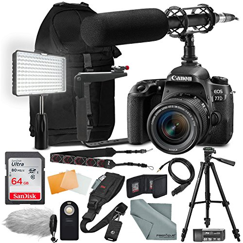 Canon EOS Rebel 77D DSLR Camera with EF-S 18-55mm f/4-5.6 is Lens Complete Premium Video Kit w/ 64GB + Professional Shotgun Microphone + Pro Video 160 LED Light + Deluxe Accessory Bundle