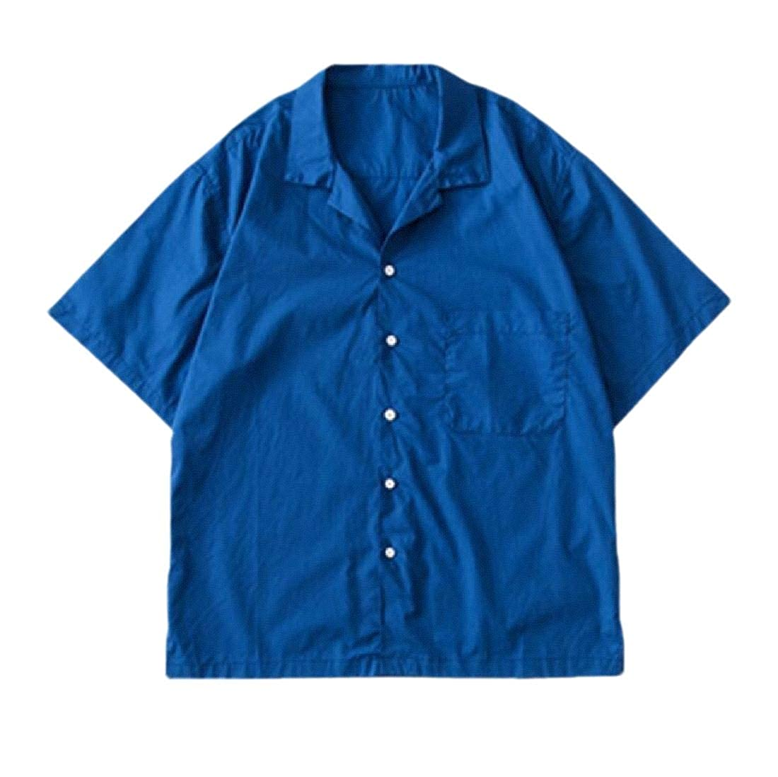 Mens Short Sleeves Shirts Botton Down Tops Plain Summer Blouses