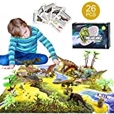 AstarX Dinosaur Toys, 26 Pcs Dinosaur Set with Activity Play Mat, Moveable Jaws, Trees, Kids Educational Realistic Dinosaur Toys for 3 Year Olds