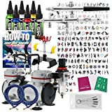 PointZero Complete Temporary Tattoo Airbrush Set - 2 Airbrushes with Compressor and 200 Stencils