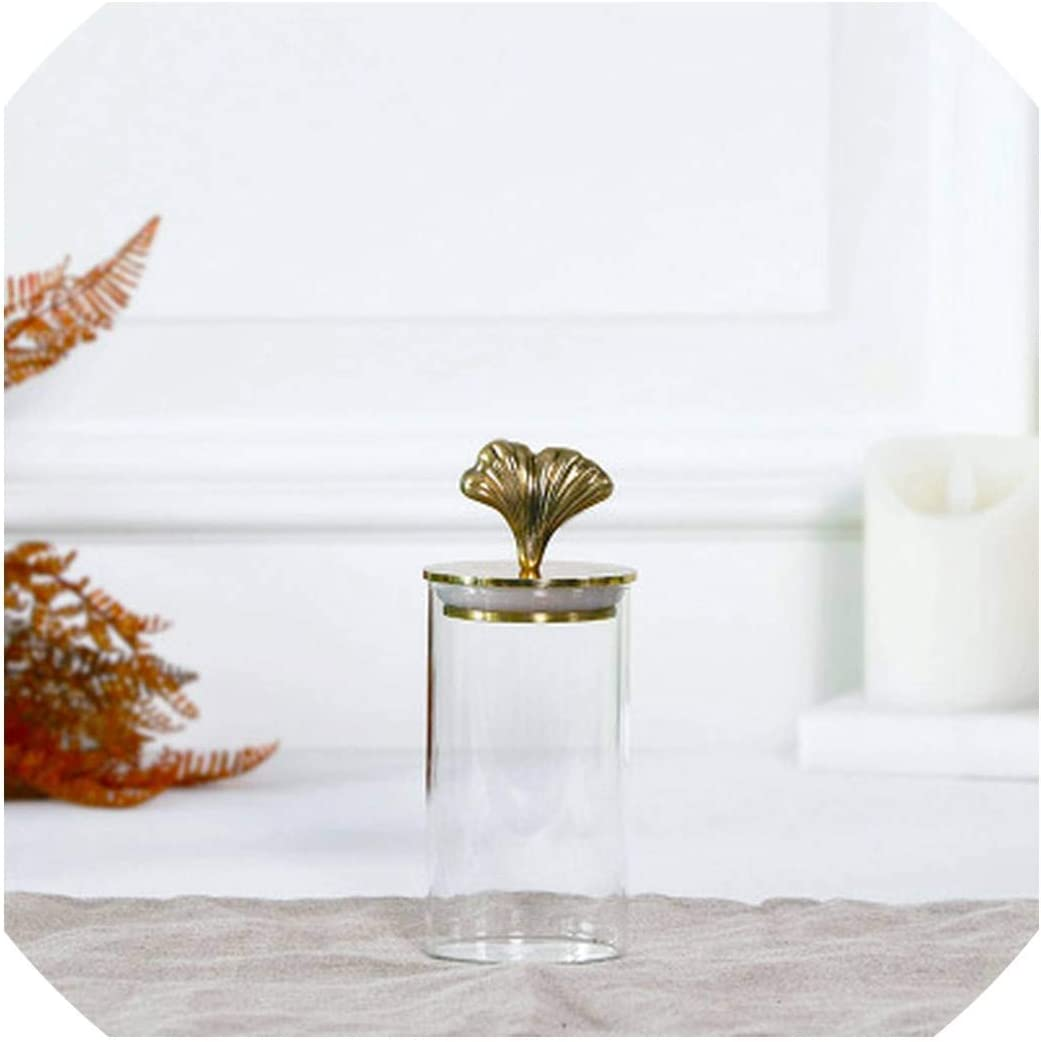 brass ginkgo leaf Glass Jar Candy jar transparent coffee bean candy cans block sealed jar Tea Storage bottle bonbonniere bocal,01