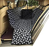 HCMAX Dog Car Seat Cover Pets Hammock Convertible Cover 600D Heavy Duty Waterproof Backseat Covers with Side Flaps for Car SUV Truck – Black Paw Prints