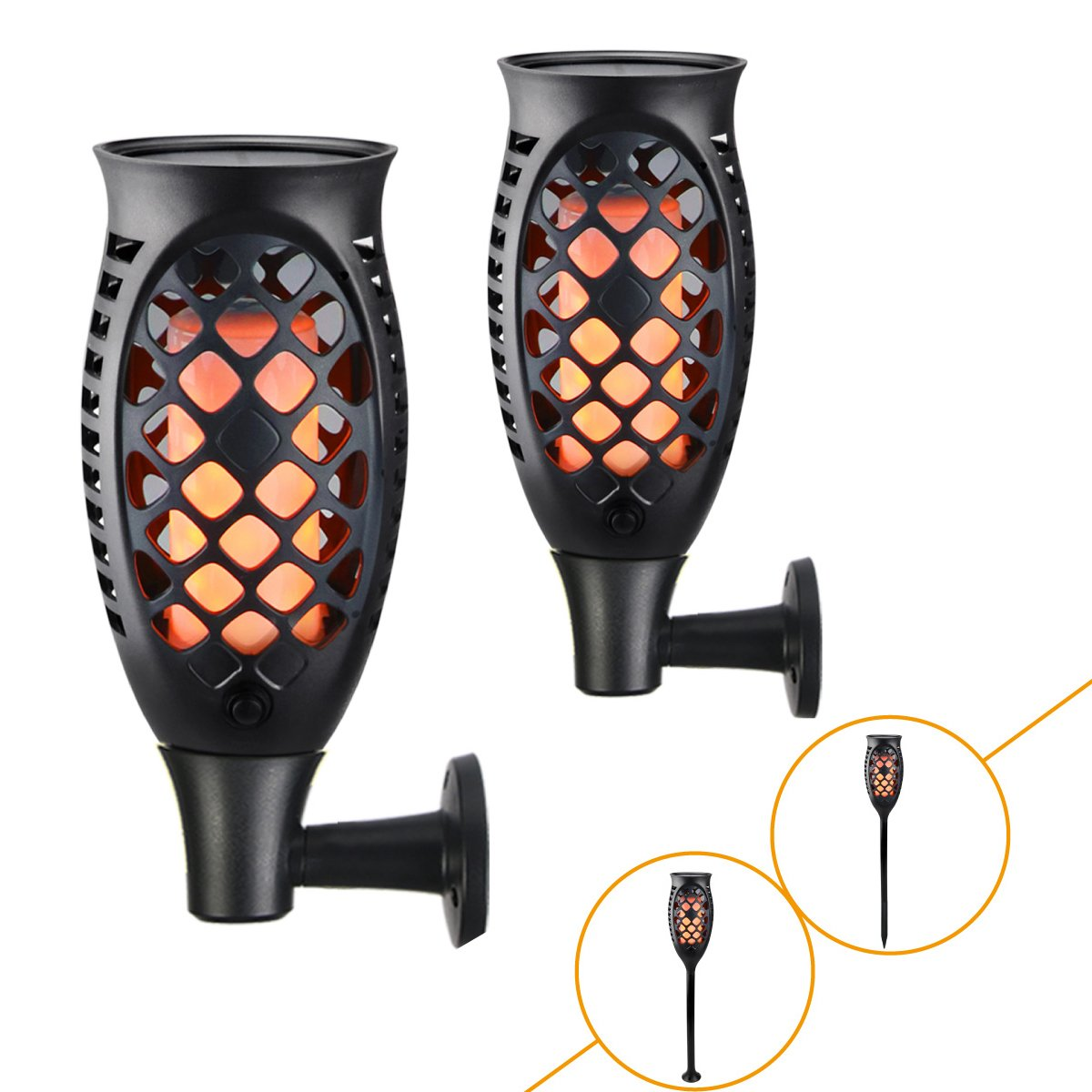 Juhefa Solar Lights Outdoor [2018 Upgraded] 99LED Flickering Flames Torches Lights Waterproof 3 Working Modes & 3 Installation Ways Auto On/Off Dusk to Dawn Garden Decorations Pathway Deck (2 Pack)