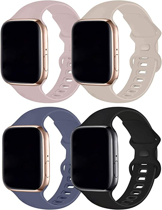 Hotflow 4 Pack Compatible with Apple Watch Band 38mm 40mm,Sport Silicone Soft Replacement Band Compatible for Apple Watch Series SE/6/5/4/3/2/1 [M/L Size -PinkSand/Stone/Lavender Gray/Black]