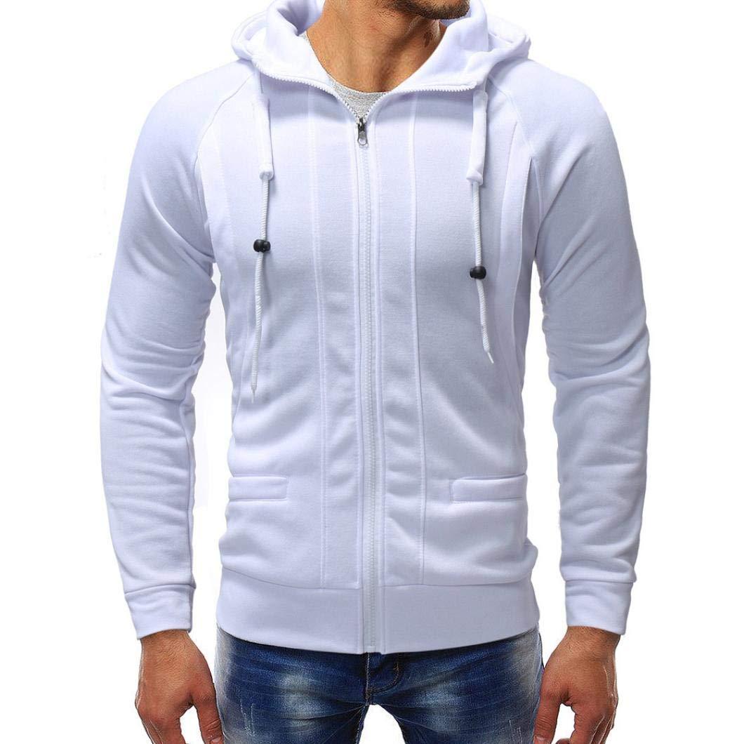 Long Sleeve Autumn Winter Casual Sweatshirt Hoodies Top Blouse Tracksuits Men's Jacket Sweater Outwear (White, M)