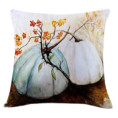 GBSELL Pillow Cover Blue Gray Orange Pumpkin Pillow Case Sofa Throw Cushion  Cover Home Fall Decor,45cm45cm (E)