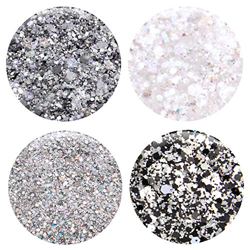 Mixed Glitter 20 Piece Kit – Includes Solvent Resistant Dust, Powder, Hexagon, Holographic, Matte Glitters - Great for Nail Art Polish, Gels, Art and Crafts, Paints & Acrylics Supplies - 1/4 OZ Jars by Glitties (Image #5)
