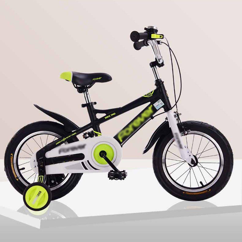 子供用自転車ベビーキャリッジバイク14インチアルミ合金フレームベビーカー3-5-8歳子供用自転車 B07DXM56R9Black+yellow 14 inch