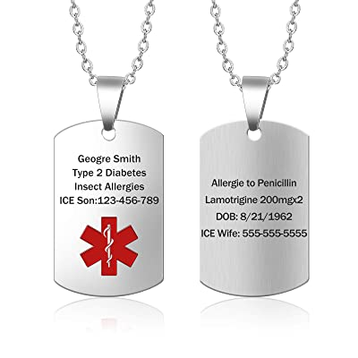 Custom Personalized Medical Alert Necklace Custom Medical ID Necklace Medical Alert ID Necklace Stainless Steel Engraved Medical Necklace