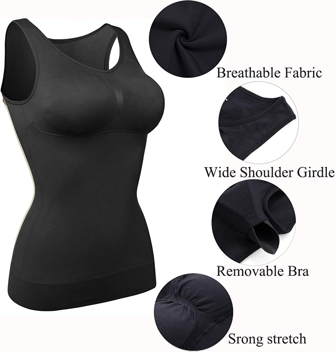 Stretchy Cami Bra Top  Medium Shapewear  Black Pullover Top Vintage Lingerie