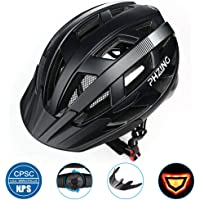 PHZ Adult Bike CPSC Certified Helmet with Rechargeable Led Back Light/Detachable Visor Ideal