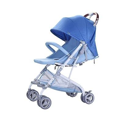 Cochecito Azul Strollerr Ligero Plegable Paraguas para niños Coche Compras Movimiento Viajes Sombrilla Coche Marco de