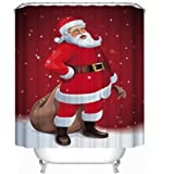 "CHICHIC Christmas Shower Curtain Santa Xmas Shower Curtain Thickening 71"" x 71"", Mildew Resistant Waterproof Water-Repellent Antibacterial, Best for Christmas Decoration"