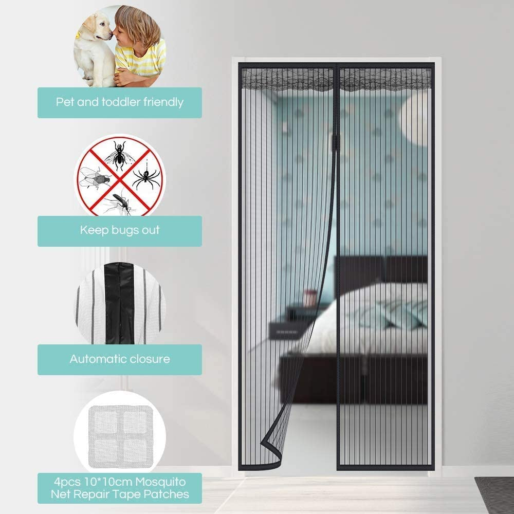 Faburo 210 x 90 cm Magnetic Mosquito Net for Door Entrance Doors Magnetic Mosquito Net for Anti Insect Breathable Automatic Closure