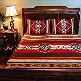 3pc Red Brown Yellow Blue Southwest Quilt Cal King Set, Tribal Geometric Motifs Pattern, Indian Aztec South West Themed Aztec Western Desert Colors, Native American Cultural Southwestern Bedding