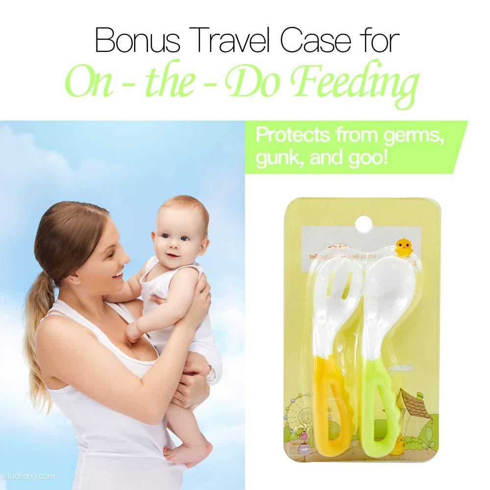 2 Pcs Baby Kids Infant Self-feeding Flatware Training PP Bent Fork Spoon Set
