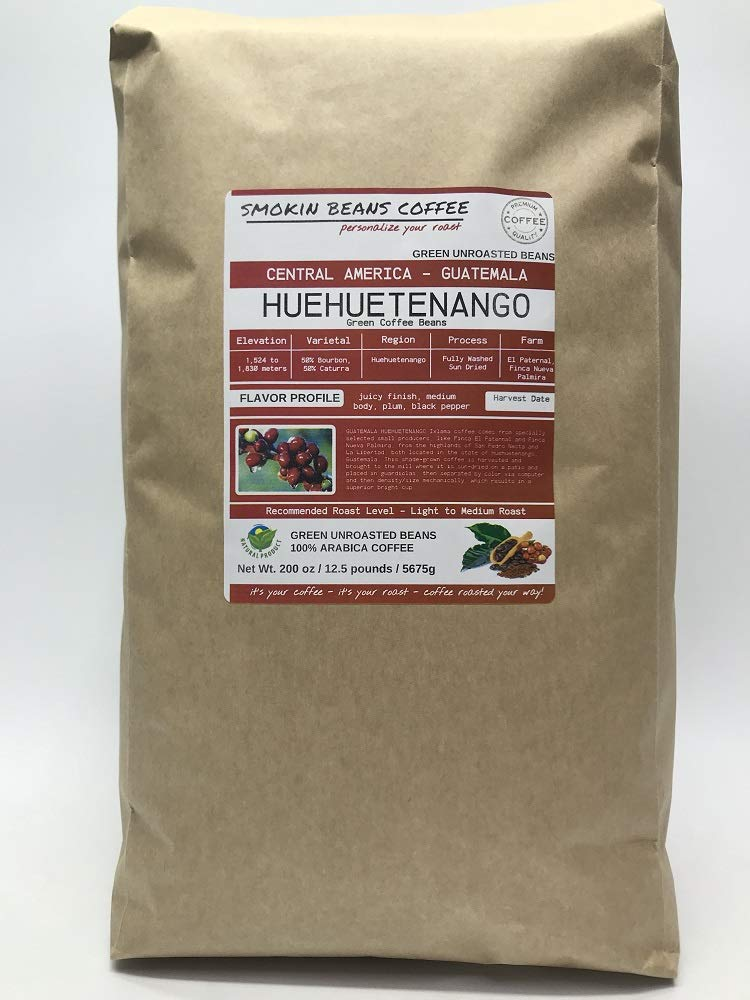 12.5 Pounds - Central American - Guatemala Huehuetenango - Unroasted Arabica Green Coffee Beans - Grown Huehuetenango Region - Altitude 1800 Meter - Drying/Milling Process Is Washed by Smokin Beans